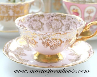 WIDE MOUTH, Vintage Tea Cup and Saucer by Royal Standard, English Fine Bone China, Wedding Gift or Bridal Shower Inpsiration, Gifts for Her