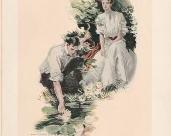 Antique Victorian Art Print-Book Plate-Lithograph- Couple Gathering Water Lilies-Artist Signed Howard Chandler Christy 1903