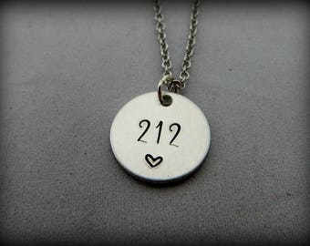 area code - Hand Stamped Necklace - Your Custom Area Code Necklace - Choose Your Favorite Area Code - kg304