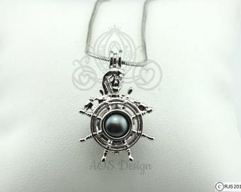 Pick A Pearl Cage Necklace Skeleton Pirate Ships Wheel Ghost Pirate Ship Ocean Silver Plated Locket Pirates of the Caribbean