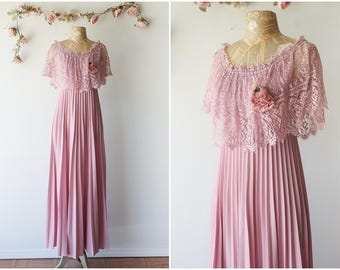Romantic Dusty Rose Vintage Gown - Ethereal Maxi Dress with Chantilly Lace and Pleated Skirt - Flowy Vintage Gown - Size Small