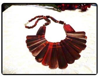 Burgandy Red Bib Necklace - Caitlin Bakelite Plastic BOHO Tribal Style - Artisan Design Caitlin Bakelite Plastic - Neck-1466e-061417075