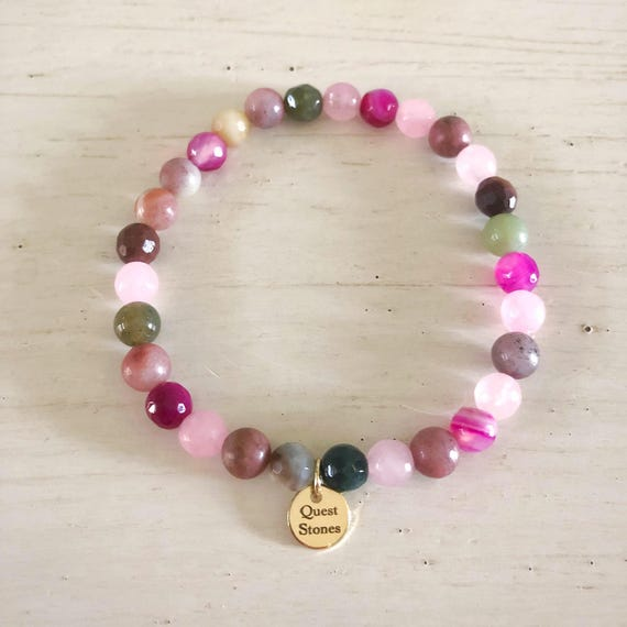 6mm Single 1 pink rose colorful agate stone energy gemstone amazonite rosequartz jade bracelet