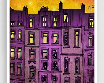 30% OFF SALE: Paris purple facade - Paris illustration Art Illustration Print Poster Paris drawing Art Print Home decor Nursery art Kids wal