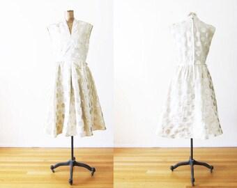60s Dress / Polka Dot Dress / Gold Midi Dress / Vintage Party Dress / 1960s Dress / Full Skirt / 60s Dress Large / Cocktail Dress