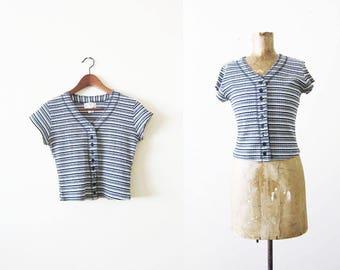90s shirt / striped shirt / ribbed 90s shirt / grunge shirt / button front shirt / 90s blouse / earth tone shirt / medium