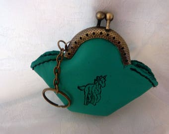 Keychain with small vintage green leather wallet