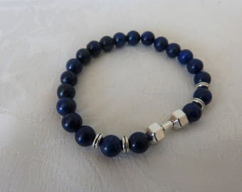 lapis lazuli beads and silver men bracelet