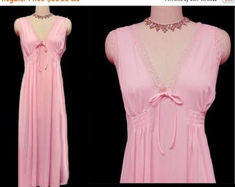 SUMMER SALE Vintage Chic Lingerie Lace Nightgown in Rosebud pink nightgown vintage nightgown 60s nightgown designer nightgown lace nightgown