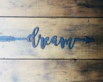 "Dream - 18"" Rusty Metal Boho Arrow - For Art, Sign, Decor - Make your own DIY Gift!"