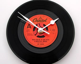 """Dr. HOOK Vinyl Record CLOCK """"When You're In Love With A Beautiful Woman"""" made from a recycled 7"""" single, anniversary gift, black and red"""