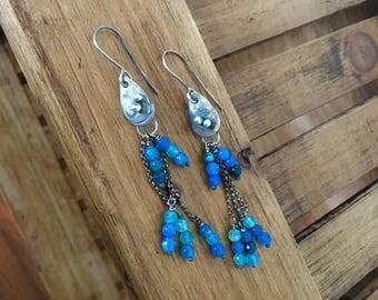 Mermaid Tears ~ Blue Agate Sterling Silver Earrings