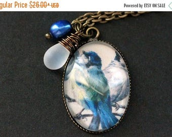 SUMMER SALE Blue Bird Necklace. Bluebird Pendant with Frosted Glass Teardrop and Pearl. Bird Charm Necklace. Wearable Art Jewelry. Handmade