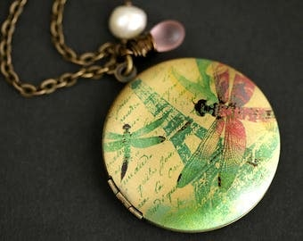 Dragonflies in Paris Necklace. Dragonfly Locket Necklace. Eiffel Tower Necklace with Pink Teardrop and White Pearl Charm. Bronze Locket.
