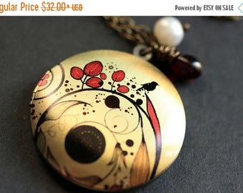 BACK to SCHOOL SALE Floral Necklace. Red Flourish Necklace. Floral Locket Necklace with Wire Wrapped Teardrop and Pearl. Bronze Necklace. Ha
