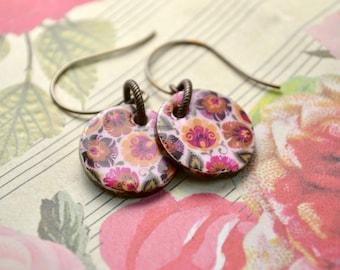 Boho Flower Earrings, Pink Floral Earrings, Disc Earrings, Floral Jewelry, Flower Power Summer Earrings, Handmade Ceramic Jewelry Gift Women