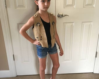 Leather Western Vest Kids sz Medium