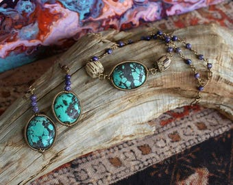 Turquoise Choker and Earring Set with Charoite