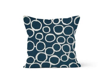 Navy Blue Circles Pillow Cover - Freehand Premier Blue - Lumbar 12 14 16 18 20 22 24 26 Euro - Hidden Zipper Closure