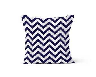 Navy Chevron Blue Pillow Cover - Zig Zag Blue - Many Sizes Lumbar, 12, 14, 16 - Zipper Closure - sc246l