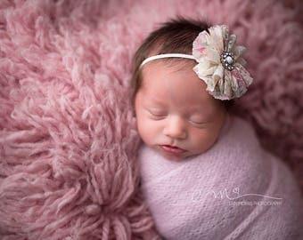 Newborn Headband, Baby Headband, Girls Headband, Chiffon Flower, baby photo prop. newborn photo prop, floral headband, headband, ballerina
