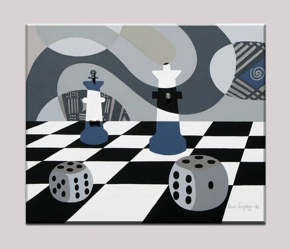 Board Game Art, Chess Art, Board Game Decor, Dice Wall Decor, Black and White Art, Monochromatic Painting, Game Artwork, Geometric Wall Art