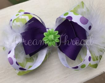 Lime, Purple, Chevron, Polka Dot Double Stacked Loop Boutique Double Stacked Hairbows, Baby Boutique Bows, HairBows