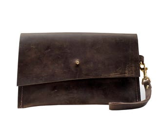 Brown Leather Small Clutch Bag, Bags and Purses, Foil Monogram