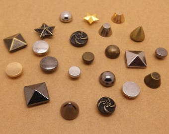 20 Pcs 0.20~0.47 Inches Small Bronze/Gold/Silver/Gun Accessories Rivets Metal Shank Buttons For Jeans Bags