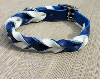 """Braided Leather Collar, Custom Leather Dog Collar, 5/8"""", 1/2"""" and 3/4"""" wide."""