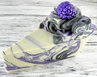 Black Raspberry Vanilla goat milk soap cake slice/cake soap/handmade soap/cold process/soap cake/body soap/soap favor/wholesale soap/gifts