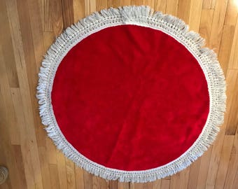 Vintage Red Christmas Tree Skirt with white fringe 42 inches in diameter