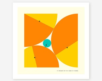 DESCARTES' THEOREM (Giclée Fine Art Print/Photo Print/Poster Print) Minimal, Geometric Art