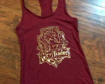 Gryffindor Crest Racerback | Hogwarts Houses | Harry Potter Tank | Hogwarts Crests | Godric Gryffindor | Gryffindor Lion | Wizarding World