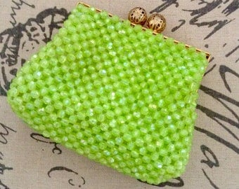 Vintage 60s Neon green beaded purse