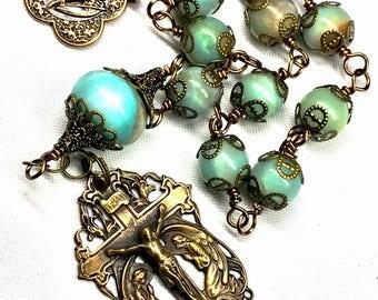 LARGE TRUE BRONZE Tenner, Decade Rosary, Amazonite Gemstone Beads, Catholic Rosary, ,Christian Faith, Prayer Beads, Spiritual, Inspirational