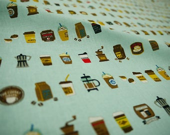 Cute Coffee Print Fabric Light Turquoise  - 110cm x 50cm
