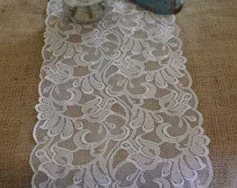 "White lace trim 9.5"" wide sold by the yard/ vintage style"