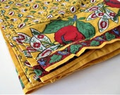 "Vintage French Country cotton tablecloth, 70"" x 90"", Pierre Deux style, Farmhouse kitchen, rectangle red and yellow tablecloth, gift idea"
