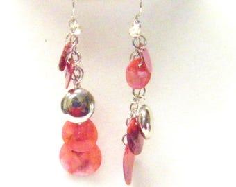 Fuchsia Dangling Shell Bead Earrings