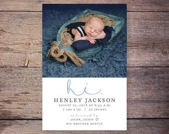 Printable Baby Birth Announcement, Hi, Introducing New Baby Announcement, Baby Stats, Printable – Henley