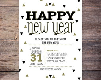 New Years Invitation New Years Party Invitation New Year's Invitation New Year's Party Printable Gold Digital Invite