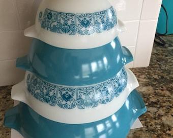 Pyrex Horizon Blue Cinderella Bowls VGC