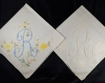 Two Vintage Initial R Embroidered Hankies -- Beautiful!