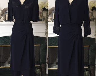 40s Drape Hip Navy Rayon Dress w Bolero