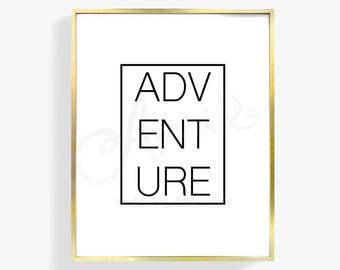 DIGITAL Adventure Print   Quote Illustration, Type, Holiday, Drawing, Art, Painting, Modern, Home Decor, Inspirational, Wall Style, Design