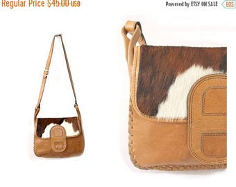 1970s Cowhide and leather tan Bag/ 70s cow bag/ vintage cowhide messenger