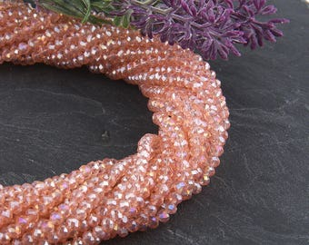 Blush Pink-AB Luster, Faceted  Rondelle Chinese Crystal Beads, Crystal Rondelle Beads, 1 strand-135 pcs // BD-066