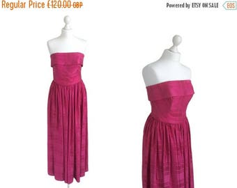 On Sale Super Rare Horrockses Dress - Strapless 1950's Evening Dress - Fuchsia Pink Satin Ball Gown - 50's Vintage Dress