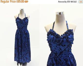 On Sale Gina Bacconi Dress - Vintage Party Dress - Evening Dress Prom - Blue Satin Sparkles Dress